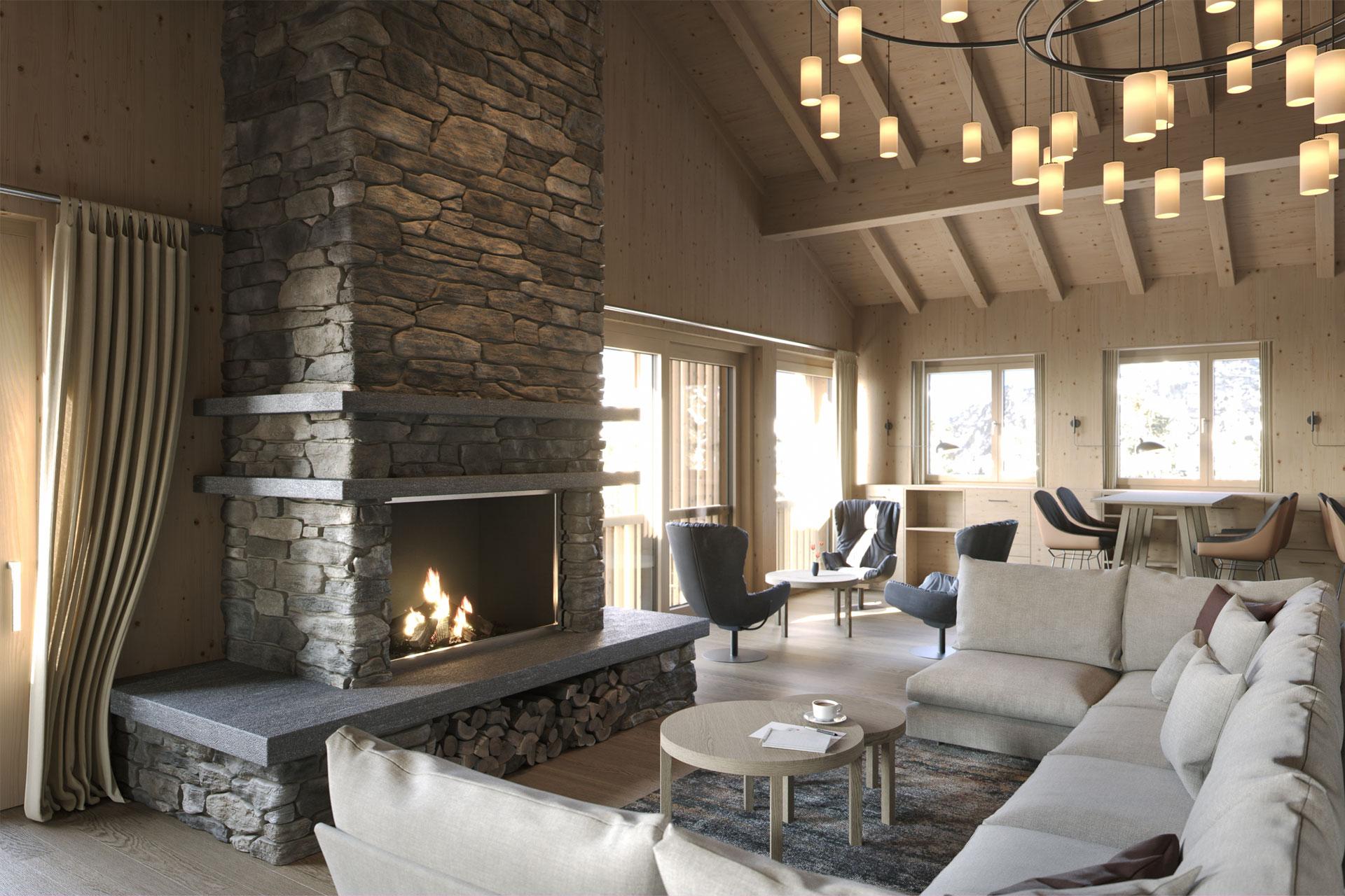 Innenansicht einer Lounge mit großem Sofa, Kamin, Tischen und Stühlen
